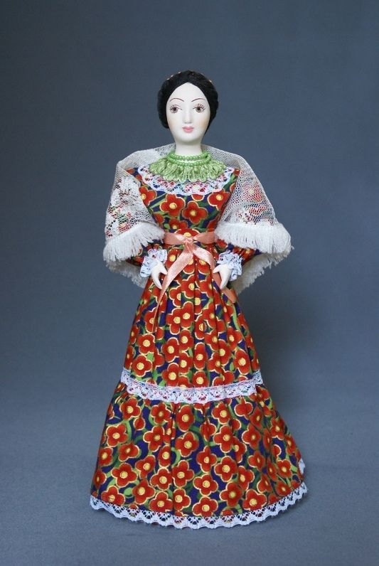 Doll gift porcelain. Cossack.Traditional summer outfit. Late 19th - early 20th century. Russia.