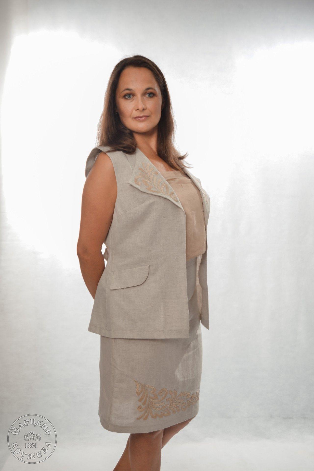 Yelets lace / Women's linen skirt С11727