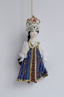 Doll gift. The boyar's daughter in a sundress. Russian traditional costume.