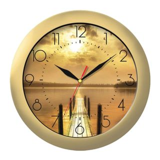 Wall clock TROYKA 11171146, round, with a picture of the Sunset, gold frame, 29х29х3,5 cm