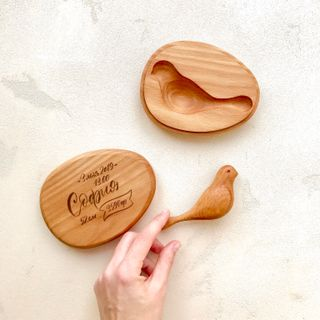 """Wooden rattle """"Dove"""" gift box with engraving"""