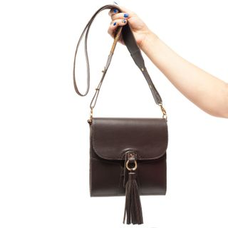 """Leather bag """"Astrid"""" brown with silk embroidery"""