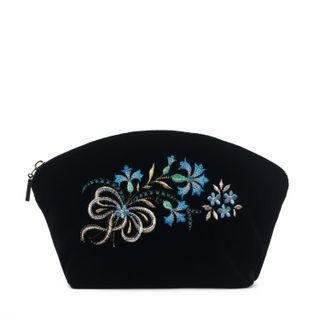 "Velvet makeup bag ""Cornflower"" black with silver embroidery"