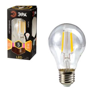 ERA / LED lamp 5 (40) W, E27 base, pear-shaped, warm white light, 30,000 hours, F-LED А60-5w-827-E27