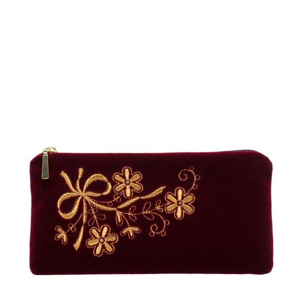 Velvet eyeglass case 'Holiday' Burgundy with gold embroidery