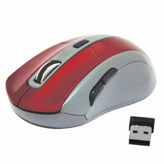 DEFENDER / ACCURA MM-965 Wireless Mouse, USB, 5 buttons + 1 wheel-button, optical, red-gray
