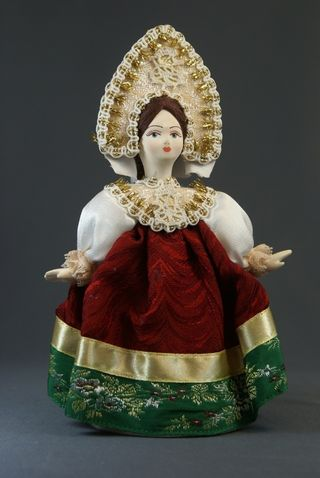 Doll gift porcelain. Dancer. Girl in a festive dress. Russia. 19th century