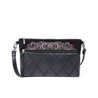 "Leather bag ""Teresa"" black with silver embroidery"