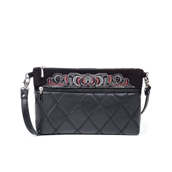 Leather bag 'Teresa' black with silver embroidery