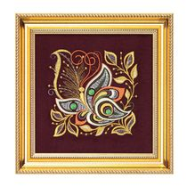 Panel 'Butterflies' Burgundy with gold embroidery