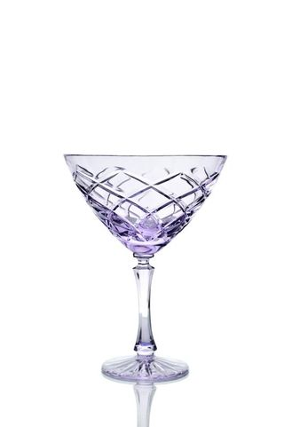 Set of crystal glasses for martini neodymium 2 pieces