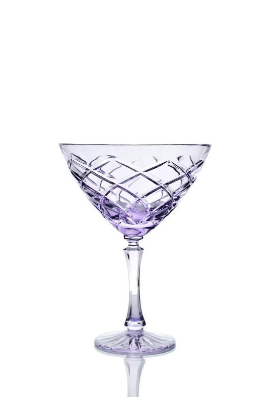 Set of crystal glasses for martini neodymium 2 pieces