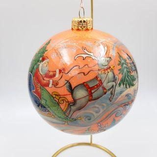 "Palekh / Christmas tree ball ""Santa Claus"" glass, master Chaparina"