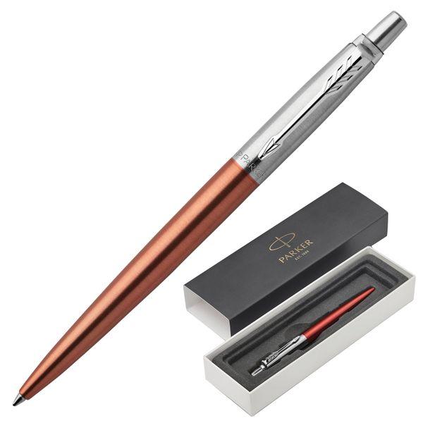 Ballpoint pen PARKER 'Jotter Core Chelsea Orange CT', building orange, chrome, blue