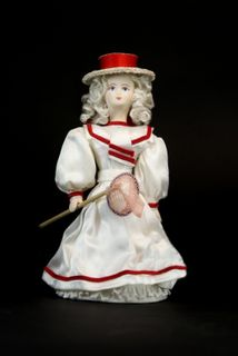 Doll gift porcelain. Girl in sailor suit with butterfly net in hand. Late 19th - early 20th century. Russia.
