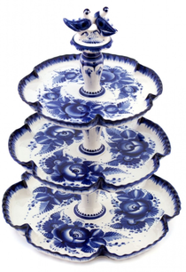 A partitioned dish 3-tier in Gzhel style