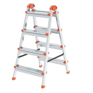 YARUS / Stepladder steel double-sided 2x4 steps, top platform 82 cm, up to 120 kg, weight 5.3 kg