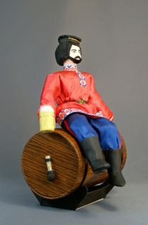 Doll gift porcelain. Stepan Razin. The case for canned beer.