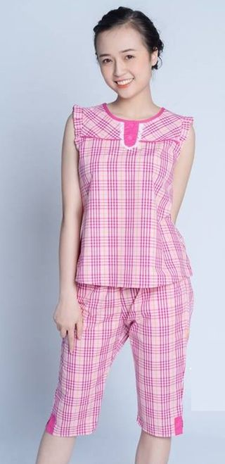 Pink pajamas with lace collar