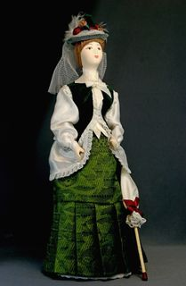 Doll gift porcelain. Day suit for visits. 1870 city of Petersburg
