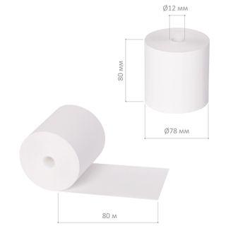 Receipt tape thermal PAPER 80 mm (diameter 78 mm, length 80 m, the sleeve 12 mm) SET of 6 PCs, BRAUBERG