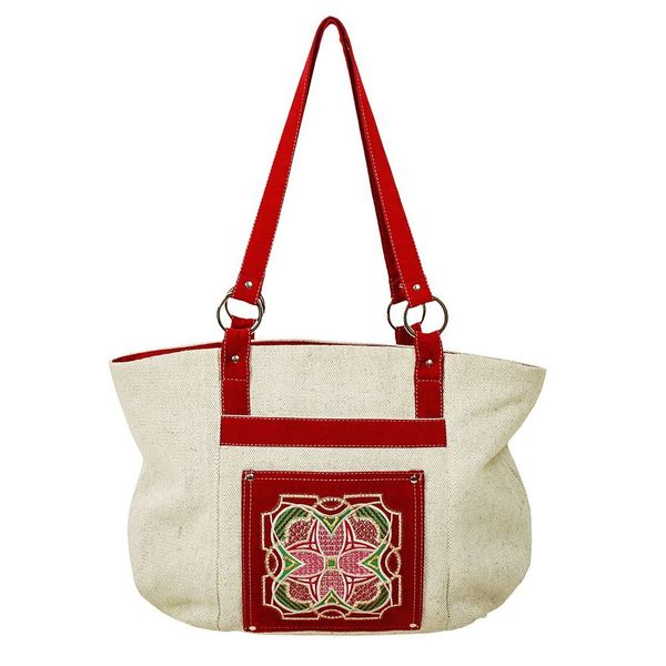 Linen bag 'Stained glass' red with silk embroidery