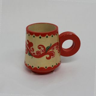 """Wooden mug """"Severodvinsk blue painted"""" the height 7 cm"""