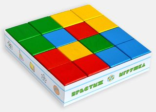 The cubes are colored - 16 pieces in a cardboard box for children from 2 years