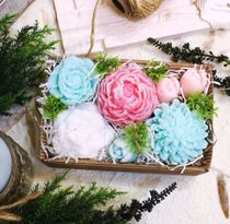 Flower bouquet soap Mint-Pink fresh in a gift box