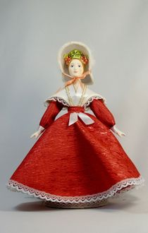 Doll gift porcelain. A young lady in a summer dress. The middle of the 19th century. Petersburg