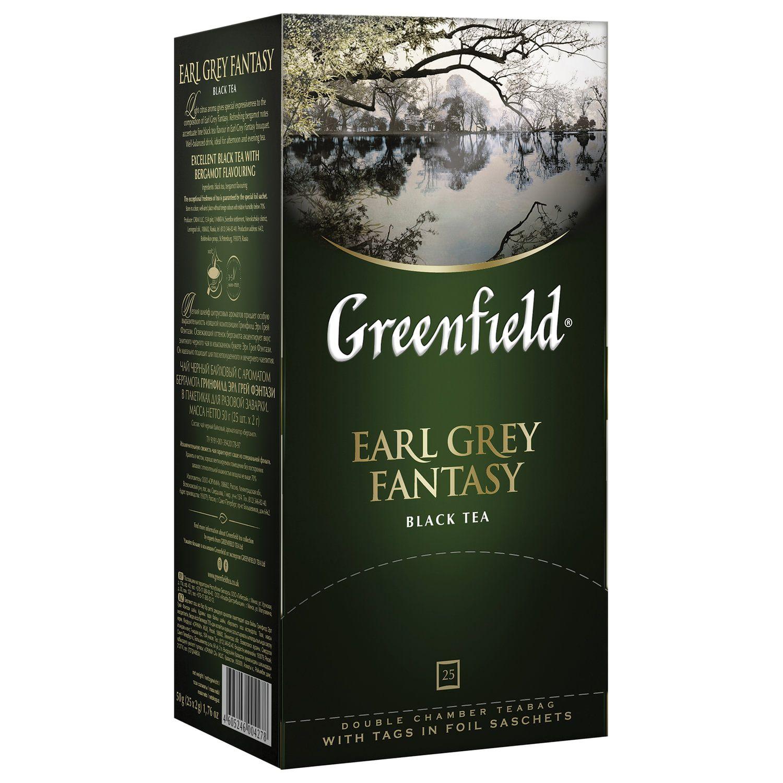 """GREENFIELD / Tea """"Earl Gray"""" black with bergamot, 25 sachets in envelopes 2 g each"""