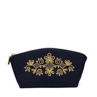 """Cosmetic bag """"Spring mood"""" black with a gold pattern"""