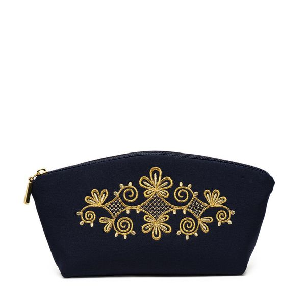 Cosmetic bag 'Spring mood' black with a gold pattern