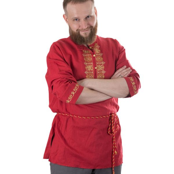 Blouse 'Folklore' red color with Golden embroidery
