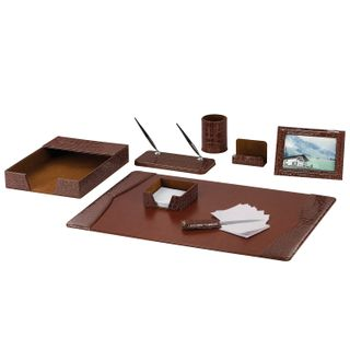 GALANT table set made of eco-leather, 8 items, crocodile skin, brown
