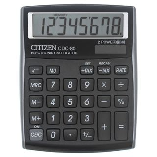 Desktop calculator CITIZEN CDC-80BKWB, SMALL (135x109 mm), 8 digits, dual power, BLACK
