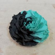 Hair clip brooch rose turquoise-shale milotto