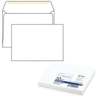 Envelopes C6 (114x162 mm), glue, dextrin, white, SET of 50 PCs., inner sealing