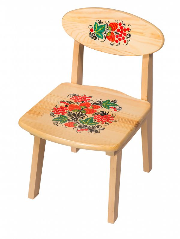 The wooden kids chair with artistic painting, 1 growth category