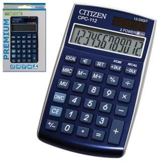 Pocket calculator CITIZEN CPC-112BLWB (120x72 mm) 12 digits, dual power supply, BLUE
