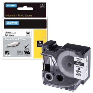 DYMO Rhino Label Printer Cartridge, 19mm x 1.5m, Heat Shrink Tubing, Black Font, White Tubing