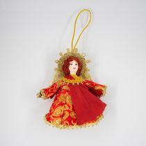 Christmas toy porcelain angel red dress, 13 cm