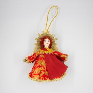 Christmas toy porcelain angel red dress, 13 cm