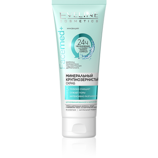 Coarse-grained mineral scrub for combination to oily skin 3 in 1 series facemed+, Eveline, 50 ml