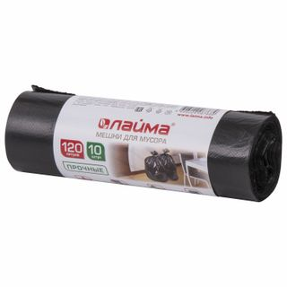 LIME / Garbage bags 120 l, black, 10 pcs per roll, HDPE, 18 microns, 70x110 cm (± 5%), durable