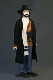 Doll gift porcelain. Hat Jewish men's suit.
