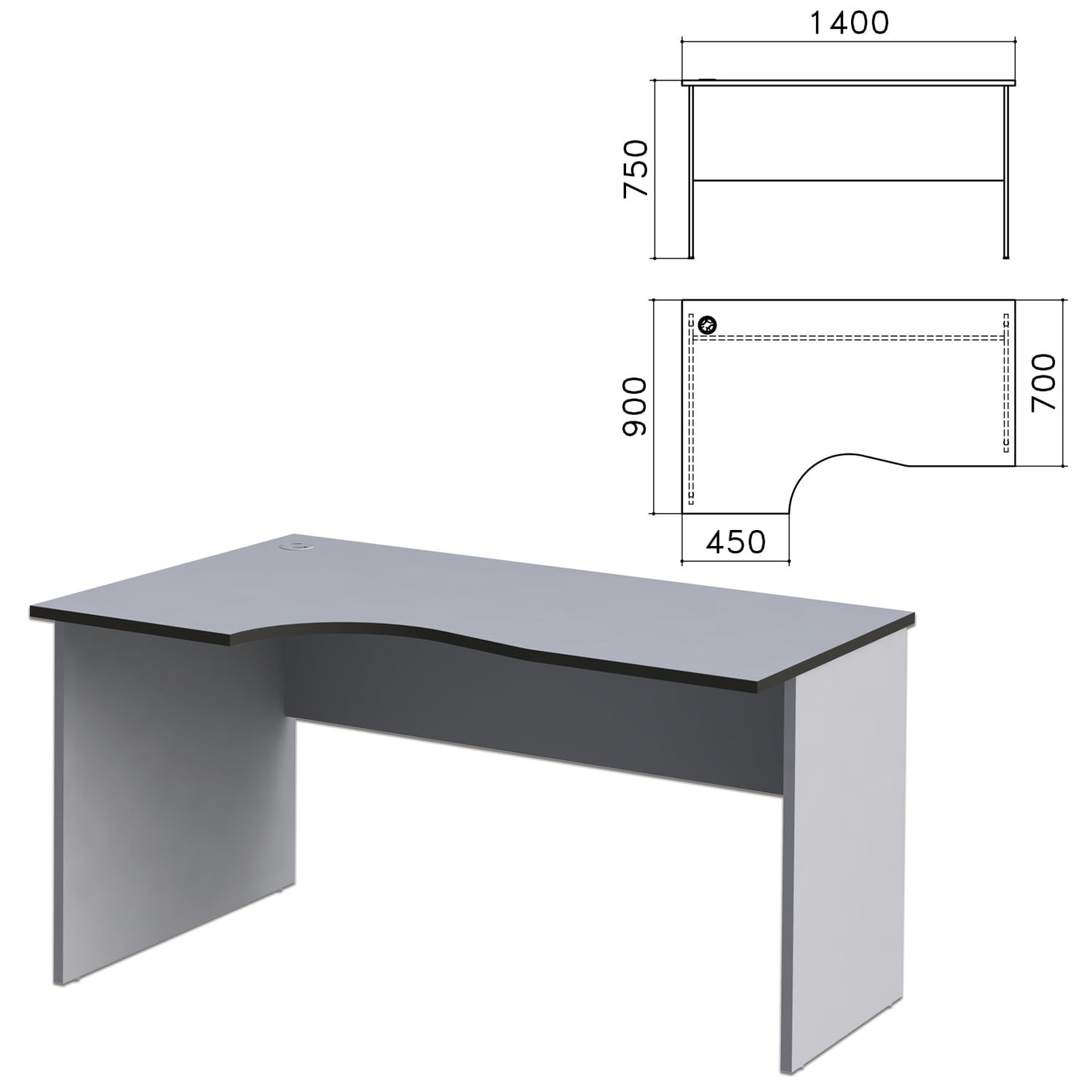 "Table written ergonomic ""Monolith,"" 1400s900s750 mm, left, gray color"