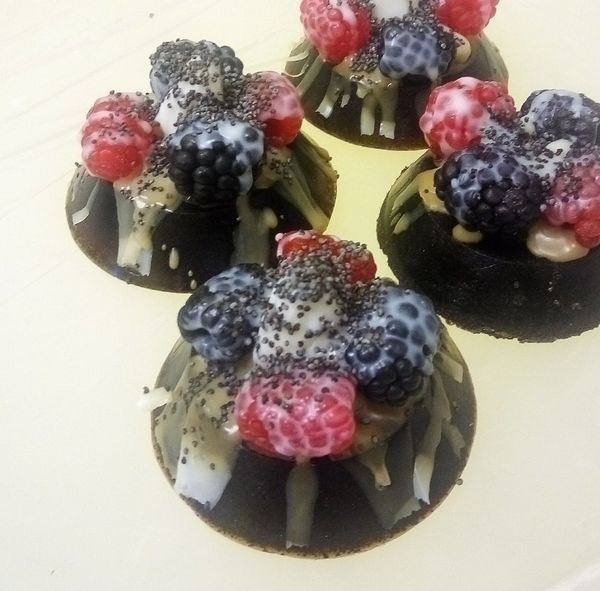 Truffle with berries - handmade soap milottoна the basis of natural chocolate