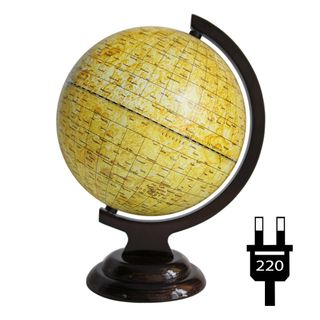 A globe of the moon with a diameter of 210 mm on a wooden stand with backlight