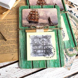Handmade Men's Frigate Souvenir Magnet with Writing Block